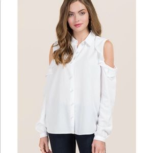 White button down pearl blouse